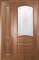 Дверное полотно Донна со стеклом сатин и рисунком (Золотая ольха / ПВХ DeLuxe)