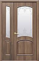 Дверное полотно Антре со стеклом сатин и рисунком (Золотая ольха / ПВХ DeLuxe)