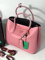 Модная женская сумка PRADA cuir double bag розовая (реплика)
