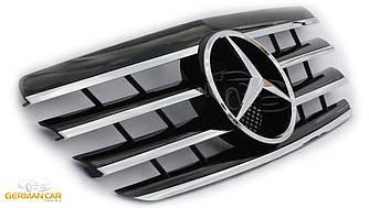 Решетка радиатора Mercedes W210 рестайл стиль AMG (черная / хром полоски)
