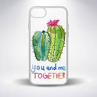 """Чехол для смартфона с полупрозрачной основой, """"Влюбленные кактусы"""""""