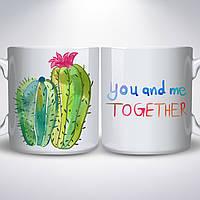 """Чашка, """"Влюбленные кактусы"""""""