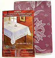 Виниловая скатерть 150х225 (бордовые лилии)