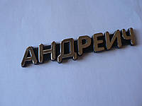 Наклейка pp имя отчество Андреич 126х24х4мм мужское пластик буквы надпись задняя на авто мальчика, фото 1