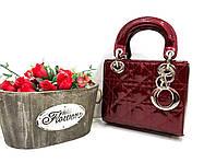 Стильная мини-сумочка LADY DIOR MINI WITH CHAIN лак бордо