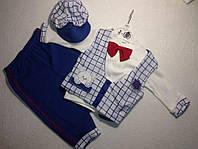 Костюм для новорожденных —интерлок3-6-9-12 мес, Клетка и мишка в кармане