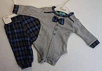 Костюм для новорожденных —интерлок3-6-9-12 мес, Клетка штаны и бодик