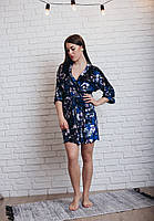 Синий велюровый халат Цветы