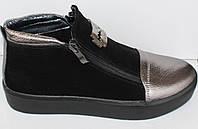 Кроссовки замшевые женские на толстой подошве, кожаные женские кроссовки от производителя модель НП1516-4, фото 1