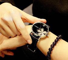 181сер - Наручные часы женские с черным ремешком