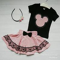 Костюм с пышной юбкой розовый на девочку