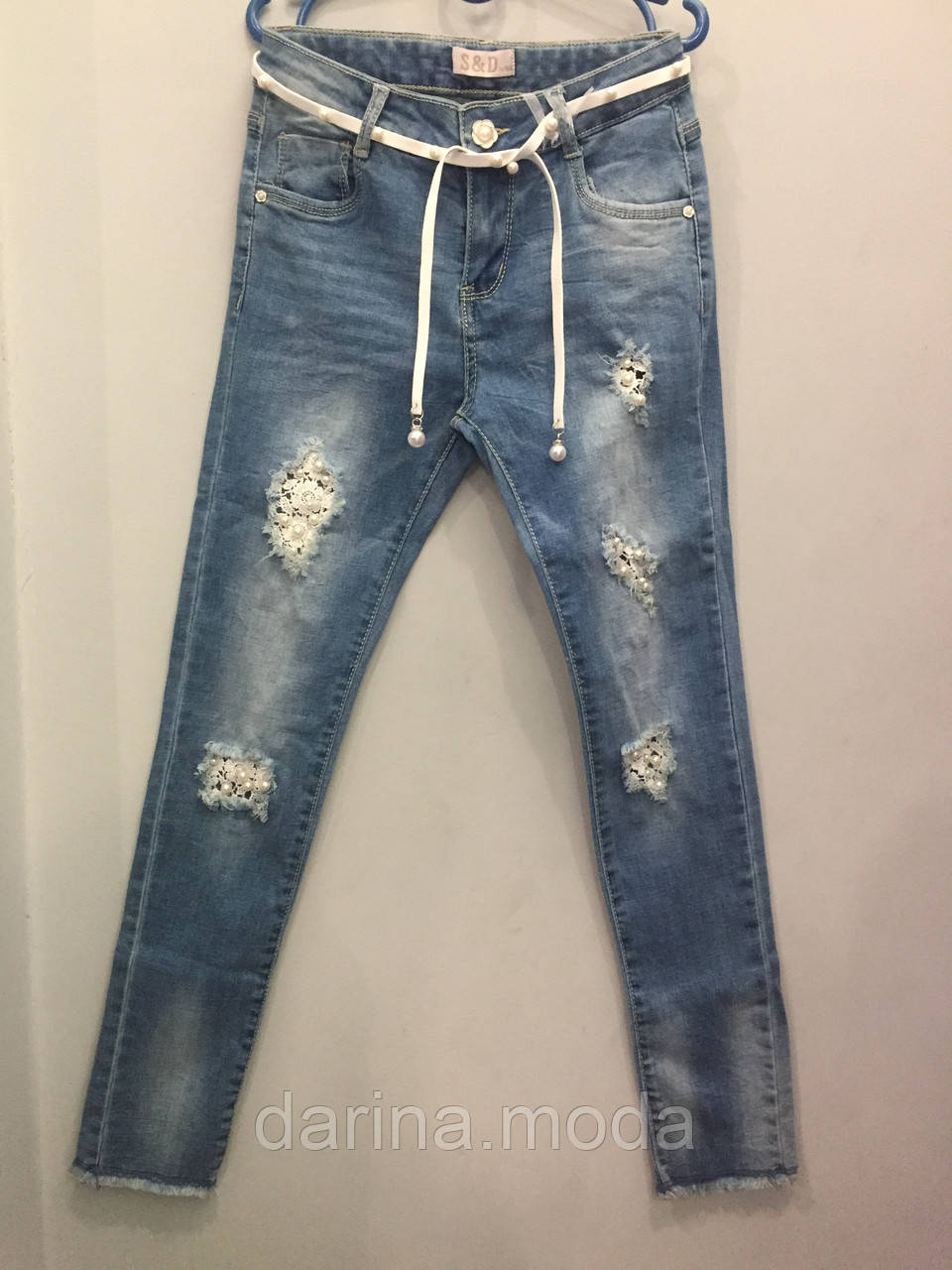 Модные подростковые джинсы для девочки 8(140),12(152)