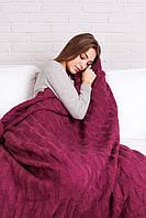 Теплый и качественный плед  из акрила, шерсти, мохера фиолетовый