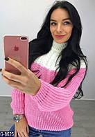 Женский  теплый вязанный свитер двухцветный