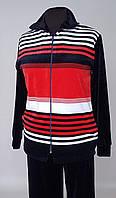 Женский велюровый спортивный костюм с красной полосой (48-64 р)