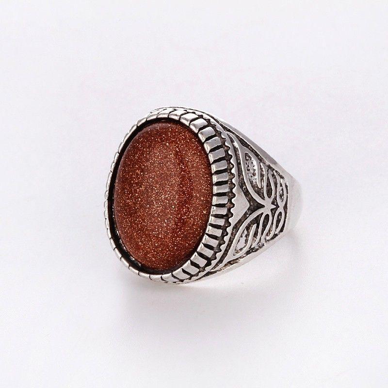 """Кольцо с авантюрином (""""золотой песок""""). 21 размер.Тибетское серебро."""