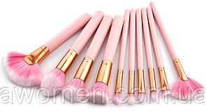 Кисти розовые с золотым основанием (10 штук)