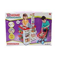 Игровой магазин 668-01-03 с кассой, тележкой, сканером, продукты