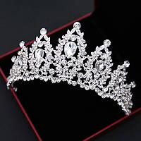 Свадебная корона, диадема, тиара в серебре для невесты,  высота 6,5 см.