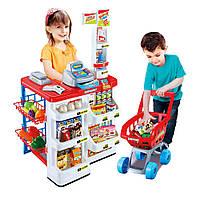 Игровой набор магазин 668-01-03 с кассой, тележкой, сканером, продукты