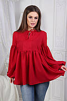 Женская однотонная блузка с рукавами-фонариками