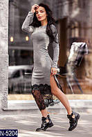Женское платье ангоровое с разрезом