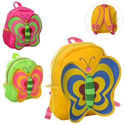 Рюкзак MK 1307 (24шт) бабочка,средний+,31-25-10см,1отд,застеж-молния,2наруж карм,3цв,неопрен,в кульк