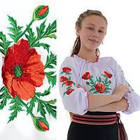 Вышитая детская блуза для девочки Маковая роса от 3 до 6 лет
