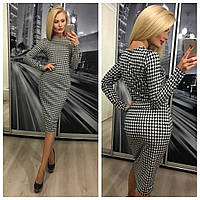 Приталенный деловой модный женский костюм кофта и юбка в клетку после колен