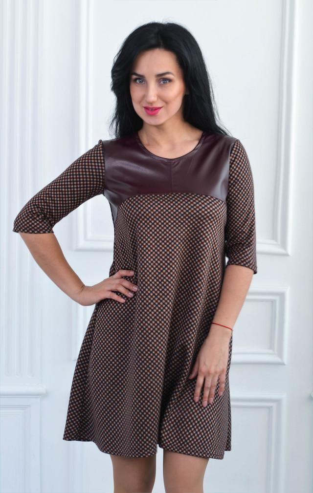 44e62694a7d Повседневное коричневое платье-трапеция в клетку  продажа