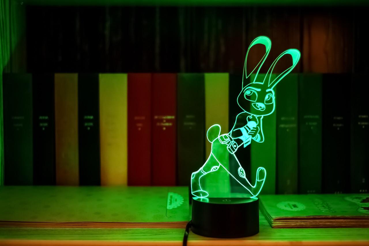 "Детский ночник ""Джуди Хопс"" 3DTOYSLAMP, фото 1"