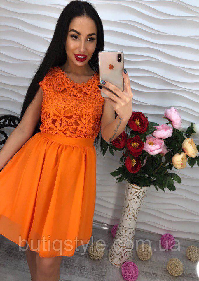 Красивое женское платье гипюр и креп-шифон только оранж