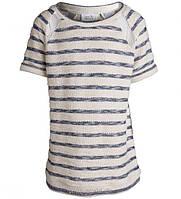 Джемпер для девочки 7-8 лет, футболка детская размер 122-128, футболка ТМ Little pieces Молочный в полоску 17062641