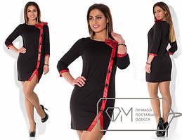 Короткое платье XL с кожаным бантом tez1515211