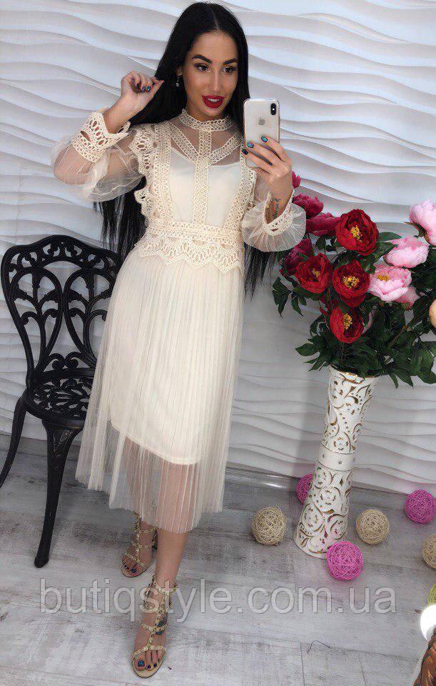 Красивое элегантное кружевное платье шифон толькотолько молочное