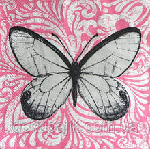Декупажная салфетка Бабочка на розовом 3334