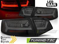 Фонари светодиодные AUDI A6 (LED BAR) Sedan черно-тонированные