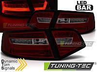 Фонари светодиодные AUDI A6 (LED BAR) Sedan красно-тонированные