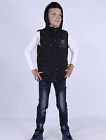 Жилетка для мальчика, демисезонная, утеплена тинсулейтом. 987QH_black BSST