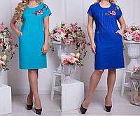 Прямое платье миди в больших размерах tez6156