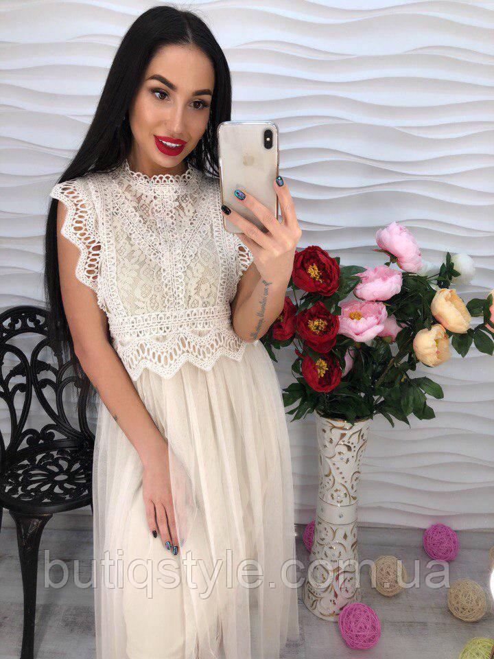 Красивое элегантное женское кружевное платье шифон только пудра