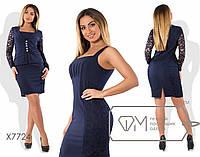 Платье - двойка с пиджаком в больших размерах tez7724