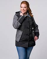 Куртка комбинированная черная-3631