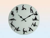 Стеклянные настенные часы Камасутра с рисунками любовных утех диаметр 35 см