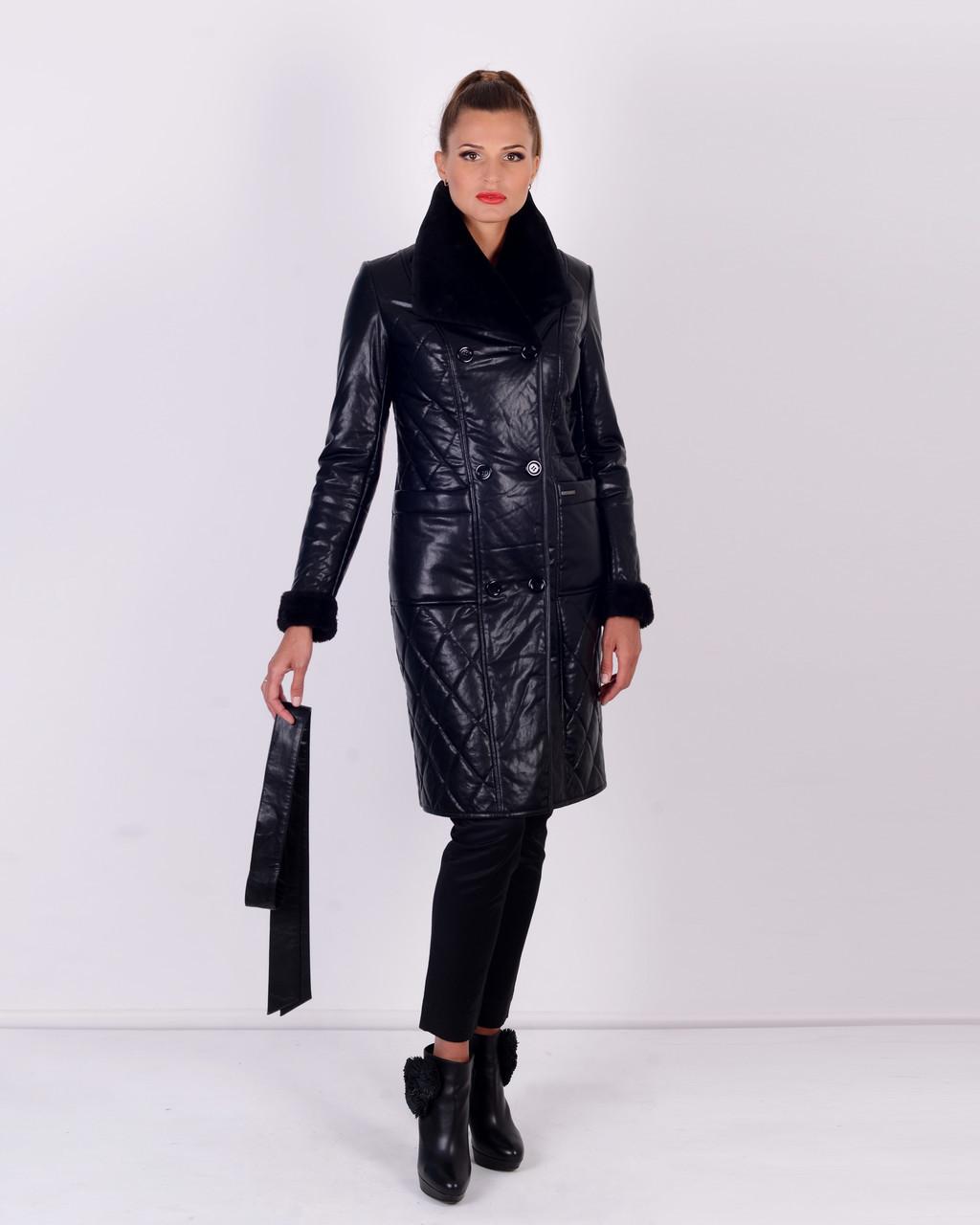 Женское утепленное пальто из эко-кожи М-4072