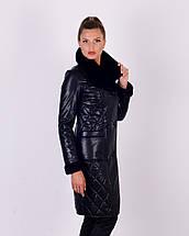 Женское утепленное пальто из эко-кожи М-4072, фото 2