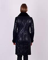 Женское утепленное пальто из эко-кожи М-4072, фото 3