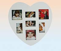 Фоторамка-коллаж пластиковая Сердце на 6 фотографии белая 8х8, 5х8