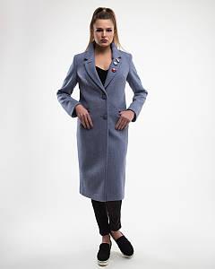 Женское демисезонное пальто Макси с брошками- М1256-1