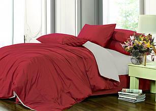 Элитное постельное белье сатин однотонный микс RED WINE+L.GREY (Полуторный)